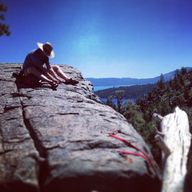 My climbing partner @sickniq setting up a route at the 90 Foot Wall.