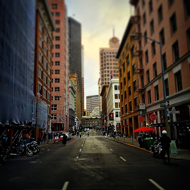 Street of San Francisco. Obama came to town today, and shut down the city.